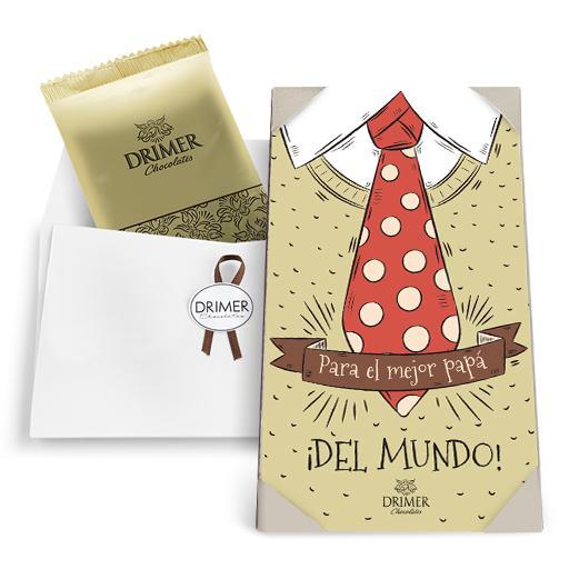Postal MEJOR PAPÁ con chocolate